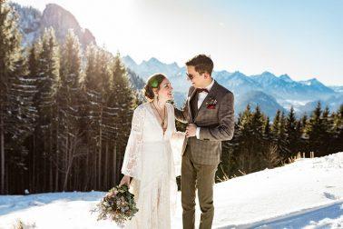 Heiraten in den Bergen im Winter im Allgäu