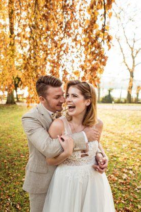 Brautpaar Elegante Herbsthochzeit Villa Kalles